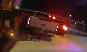 Police Cruiser hit twice on icy Texas highway