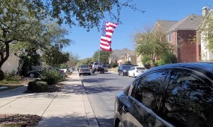 Largest American Flag Flown Behind Truck