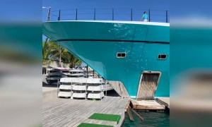 Out of Control Yacht Destroys Dock