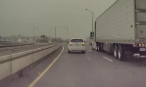 Speeding Car Smashes Mirror Weaving Through Traffic