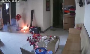 Battery Charger Explodes Causing a Fire