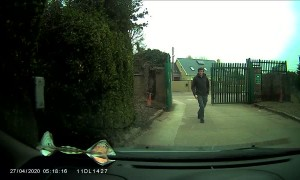 Car Rolls Away from Guy Getting Gate