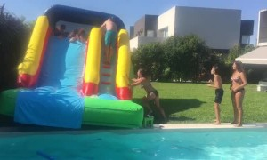 Inflatable Slide Tips to the Side