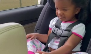 Baby girl has a hard time saying ''goodbye'' to her best friend