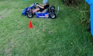 Go-Kart Drifts on  Grass