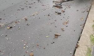 Heavy Rainfall Rips up Street Surface