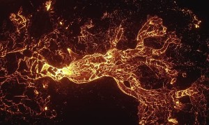 Rivers of Lava Flow From Erupting Volcano