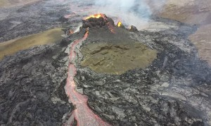 Lava Explodes From Volcano in Iceland