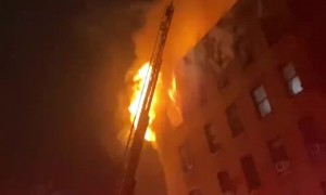 Tense footage shows massive fire in NYC apartment building