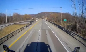 Semi Driver Has Close Call with Deer Crossing Highway