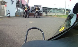 Sidecar POV with Motorcyclist on Race Track