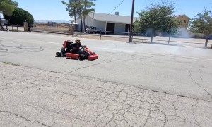 Crazy Go-Kart Driver Spinning Donuts