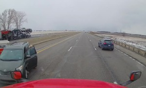 Car and Trailer Jackknife After Sideswiping Truck