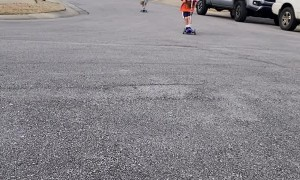 Siblings Speed and Spill on Scooters