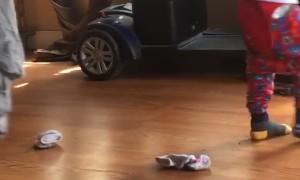 Toddler Slips through Falling Shelf Gap in Close Call