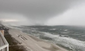 Terrifying footage of a fierce tornado and rip currents