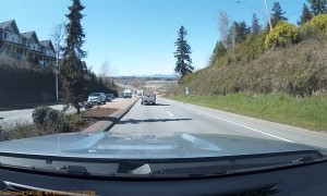 Plywood Flies Out of Truck and Hits Truck in Other Lane