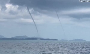 Twin Waterspouts Touchdown in Thailand