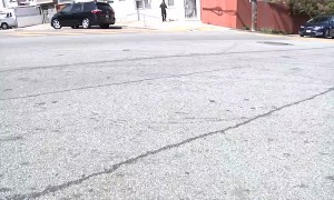 Skater Almost Hit by Car Running Stop Sign