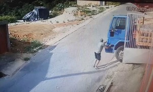 Gas Truck Starts Rolling Without Driver
