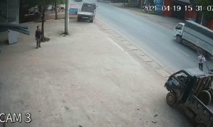 Quick Kick Saves Rider from Close Call with Runaway Tire