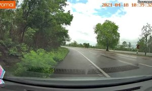 Car Loses Control and Jumps into Oncoming Traffic