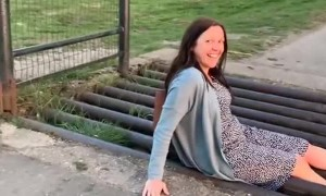Cattle Grid Crossing Stops Woman in Her Tracks