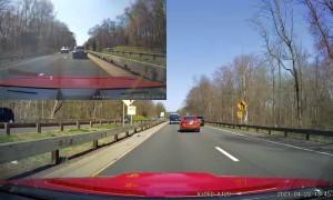 Driver Weaves Dangerously Through Heavy Traffic