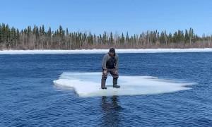 Fisherman Stranded on Drifting Ice Sheet