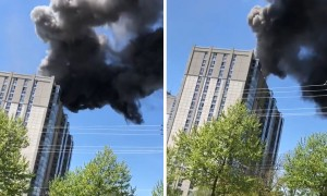 Blazing fire in Rockville, Maryland captured on camera