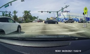 Red Light Runner Skims Truck and Keeps Driving
