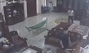 Grandpa Balances Tipping Baby