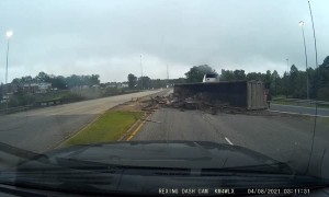 Tight On-Ramp Topples Truck Over