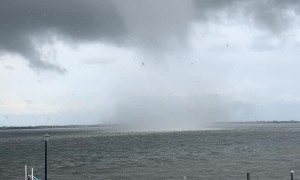 Massive Waterspout Forms Near House