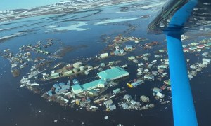 Flying Over a Flooded Alaskan Town