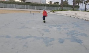 Skateboarding Dog Avoids Collision With Kid