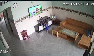 Little Boy Breaks Television With Stick