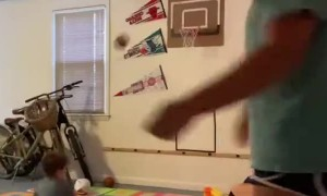 Missed Basket Ends with Small Basketball to the Face