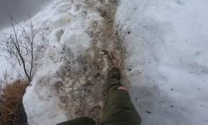 Marathon Slide Down Snowy Mountain