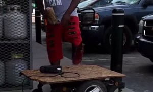 Guy Creates Hoverboard Using Plywood and Electric Wheelchair
