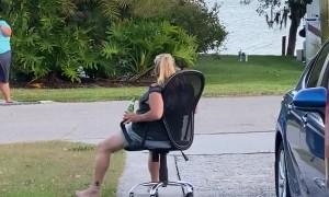Office Chair's Speedy Driveway Descent