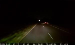 Driver Dodges Pedestrian With Loaded Tanker on Dark Highway