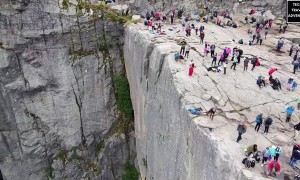 Drone Captures Beautiful Footage of Hikers on Preikestolen