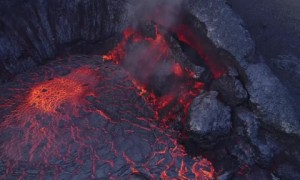Lucky drone footage captures exact moment volcano erupts