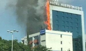 Hotel Nuevo in Madrid catches on fire