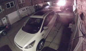 Speeding Car in Back Alley Smashes a Parked Car and Takes Off