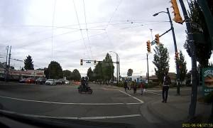 Moped Rider Flies Over Handlebars