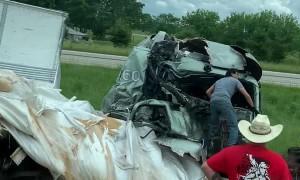 Truck Collision Scatters Debris Along Highway