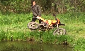 Boy Throws Flaming Dirt Bike into Lake and Retrieves it