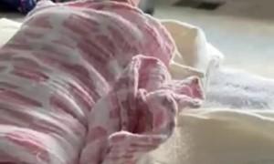 Sleeping Baby Comfortable In Strange Position